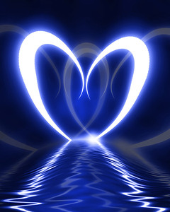Heart reflected in waves