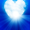 Heart shaped moon in blue sky