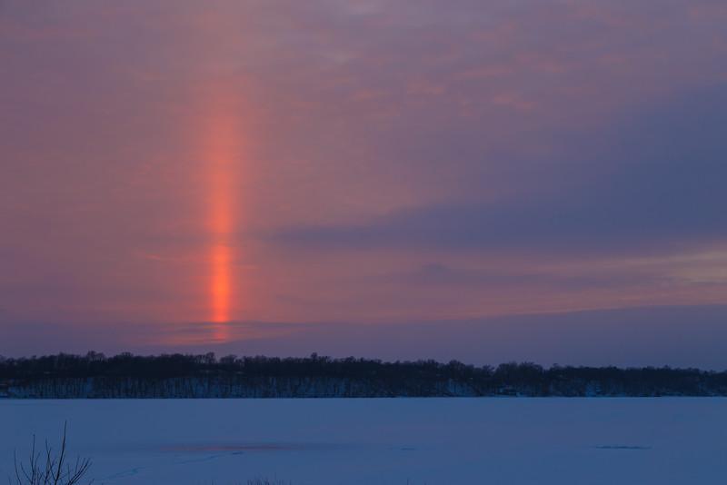 Spectacular sun pillar over Clearwater Lake near Annandale