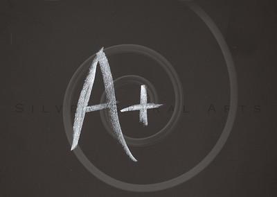 A+ Letter Grade Chalkboard Background Charcoal Gray Chalk Board