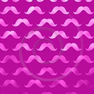 Pink Mustache Faux Foil Metallic Mustaches Polka Dot Pattern