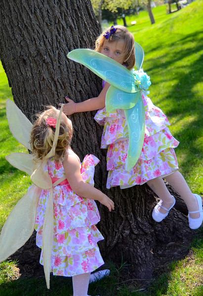 Assorted fairy wings in various sizes, shapes and colors.  (Gold pair has adjustable straps to fit child from 2 years - as Anika shows here - to adult.)