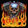 Motorcycle Harley-Davidson V-Twin Skull Flames