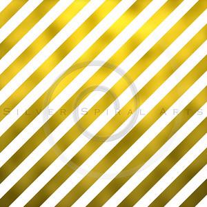 Gold Foil Metallic Diagonal Stripes on White Background Striped Texture
