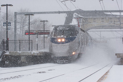 Acela in the Blizzard A westbound Amtrak Acela blasts through the Old Saybrook, CT station during the blizzard of 2006