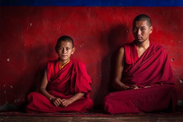 Tibetan Buddhist monks in Diskit monastery. Nubra valley, Ladakh, India
