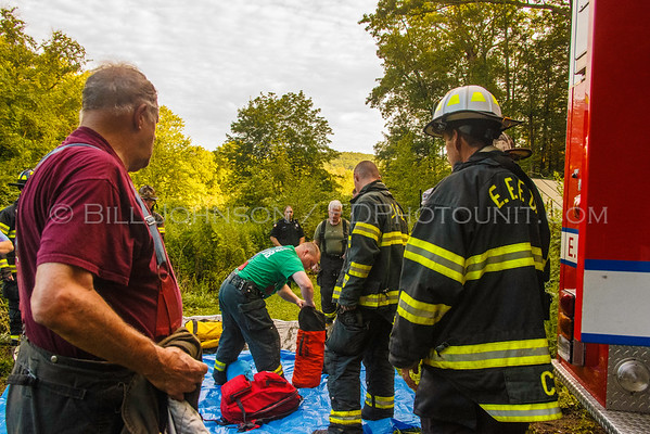 Backhoe rollover with operator trapped - Bakers Lake Road - East Fishkill FD - 8/13/2016