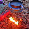 Preparing morning coffee with the MSR Simmerlite stove, now discontinued by MSR.