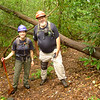 Bill Hodge and Stephanie arrive in Sled Runner Gap to do Brookshire Creek trailwork and I tag along.