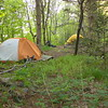 Day 3 dawns cold and so I look out the tent door and find 5 other backpackers joined me in the fir grove during the night.