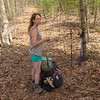 Amy waiting for me to pack up my tent near Unicoi Gap.