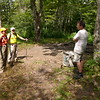 Two dayhikers stop to talk in Naked Ground and they have a summer home in Robbinsville.