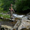 Another Ohio State student on Snowbird Creek at Middle Falls.