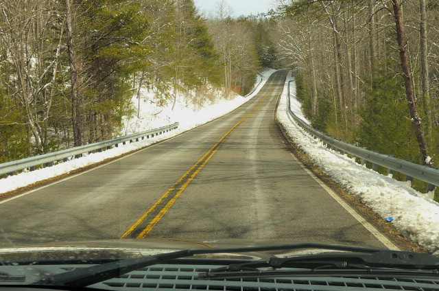 We reach the Cherohala Scarway and find more snow.