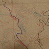 My topo map showng Warrior's Passage crossing Wildcat Creek, an important trail feature.