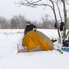 Eddie works on his Sierra Designs tent.