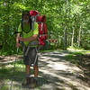 July headnet and my 85 lb pack near the FS road 221 crossing.