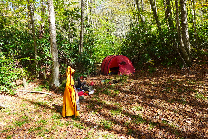 I leave Cold Gap and head down into the Wedge and set up in Little Cove Camp by Bob Creek.
