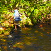 A backpacker passes me on Jeffrey Hell and crosses South Fork Creek on his way to Iron Camp.