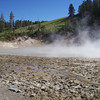 Boiling mud, called mud geyser.