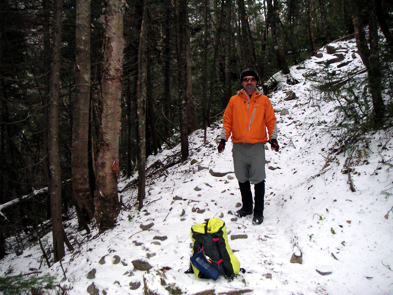 Bad news: the iced up trail was about to begin. Good news: I made the day pack