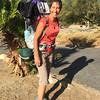 Nicole loaded and ready to roll on her 5 day solo backpacking trek to Sheep's Canyon and Lower Willows. About a 50 lb pack with 2 gallons of water.
