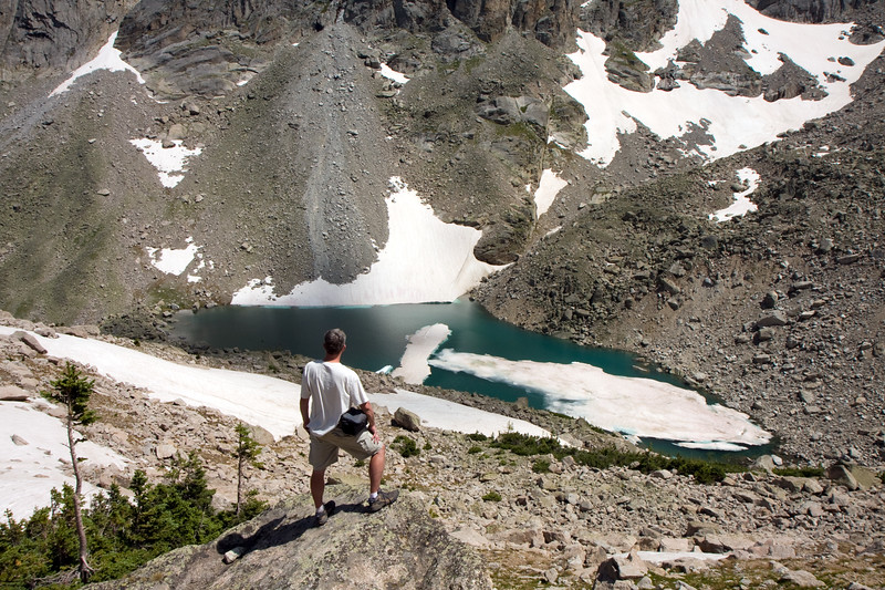 Happy to have reached our day hike destination, I stop to take in the views above Triangle Lake.