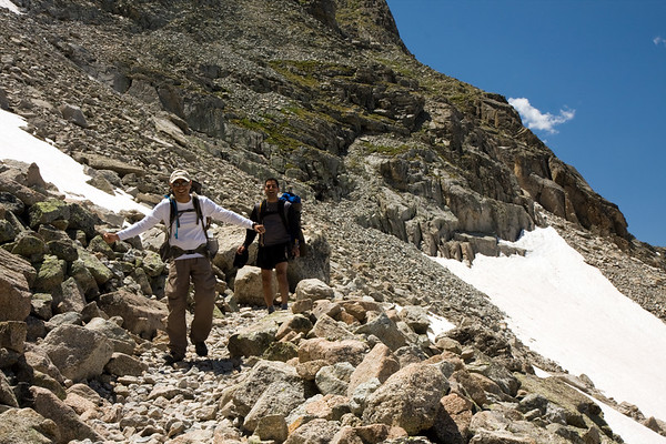 Saleem and Neel celebrating their successful descent of Pawnee Pass.