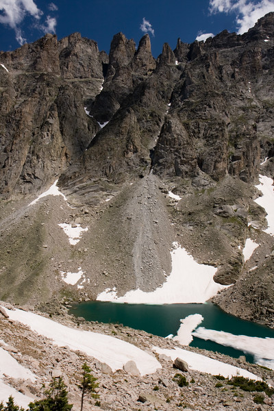 Triangle Lake, which sits directly below Apache Peak, is fed by the Fair Glacier several hundred feet above.
