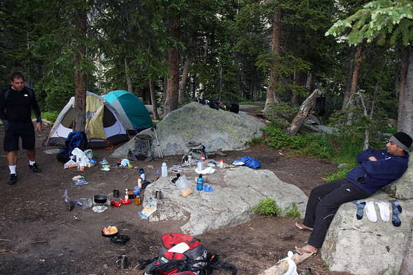Our somewhat messy campsite on the first night.