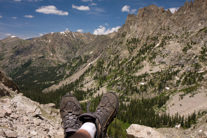 Took a quick break at the base of Lone Eagle before making a final push to Triangle Lake. Quite a view!
