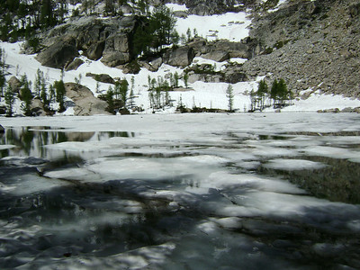 The upper lake is called Gem Lake and it was still mostly frozen.