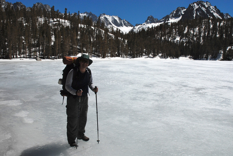 We reached Black Lake! Greg standing on that frozen lake - we camped near this area for 2 nights.