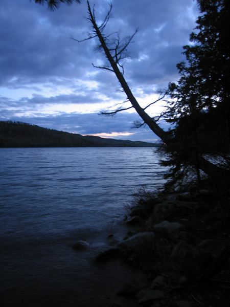Day 5: After the sunset on Pine Lake. This day was a relaxing 15 miler ending at this excellent site, now officially in the BWCA. I had the only fire of the trip this night.