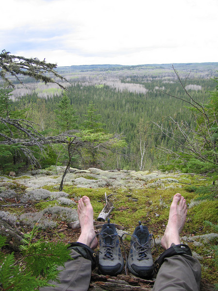 Day 4: Now on the Border Route Trail, I have only a few more miles yet to go. I took a brief break to dry out my feet and patch up a blister on my heel with moleskin. Shortly afterwards I saw two moose cross the trail.