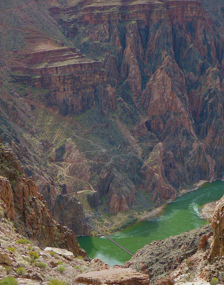 Day 2 - We hike east along the North side of the Colorado River and can see Black Bridge below. The trail visible on the opposite side is the South Kaibab Trail.