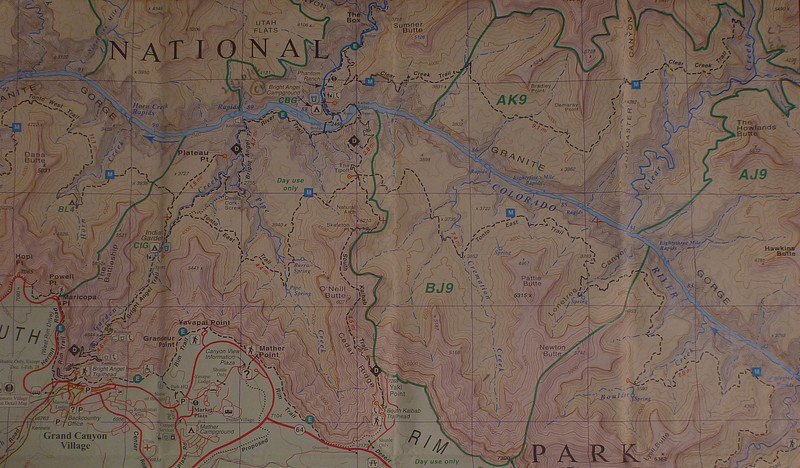 This map shows Grand Canyon Village, Bright Angel Trail, South Kaibab Trail, Phantom Ranch, and Clear Creek Trail. We started at Grand Canyon Village, and our final destination was the little red circle at the upper right hand part of the map, next to Clear Creek.