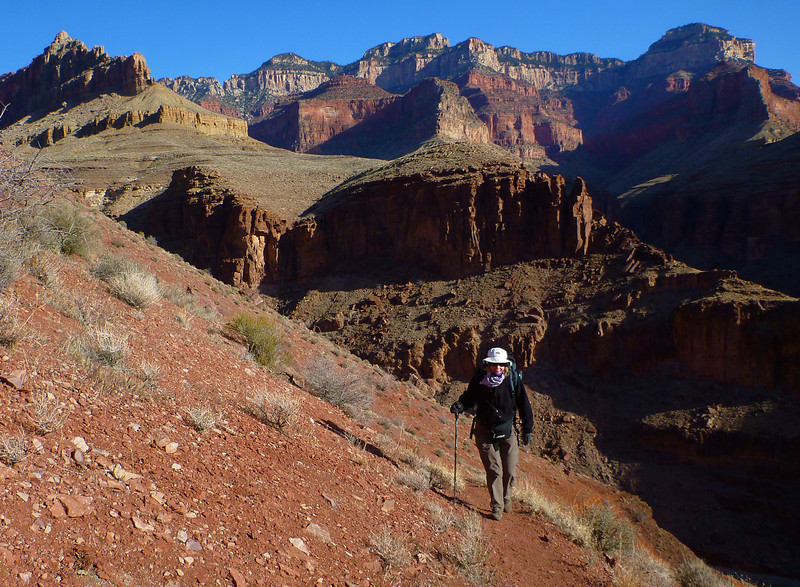 Day 5 - Hiking back to Phantom Ranch. It is a long climb up when we leave Clear Creek.