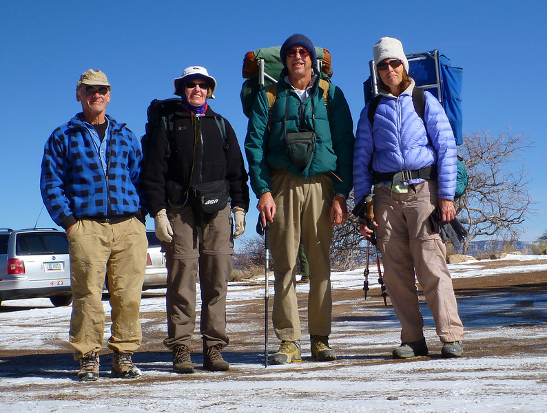 Day 1 - Rich, Rena, Ron, and Christine ready to hike down to Phantom Ranch. Yesterdays snow storm left a thin layer of snow on the ice trail which improved the footing.