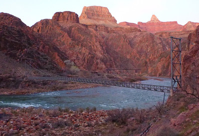 Day 1 - There are 2 bridges that cross the Colorado River. This is the Silver Bridge which is for foot traffic only. The Black Bridge is further up stream and accommodates mules also.