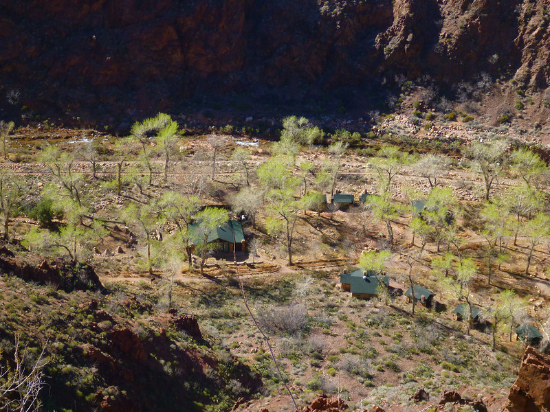 Day 5 - Looking down at Phantom Ranch from Clear Creek Trail