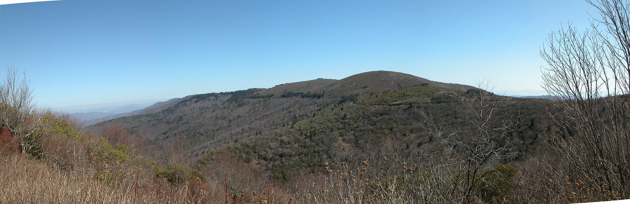 Shining Rock Wilderness from Ivestor Gap Trail. You can see the line of the trail as it wraps around Grassy Cove Top.