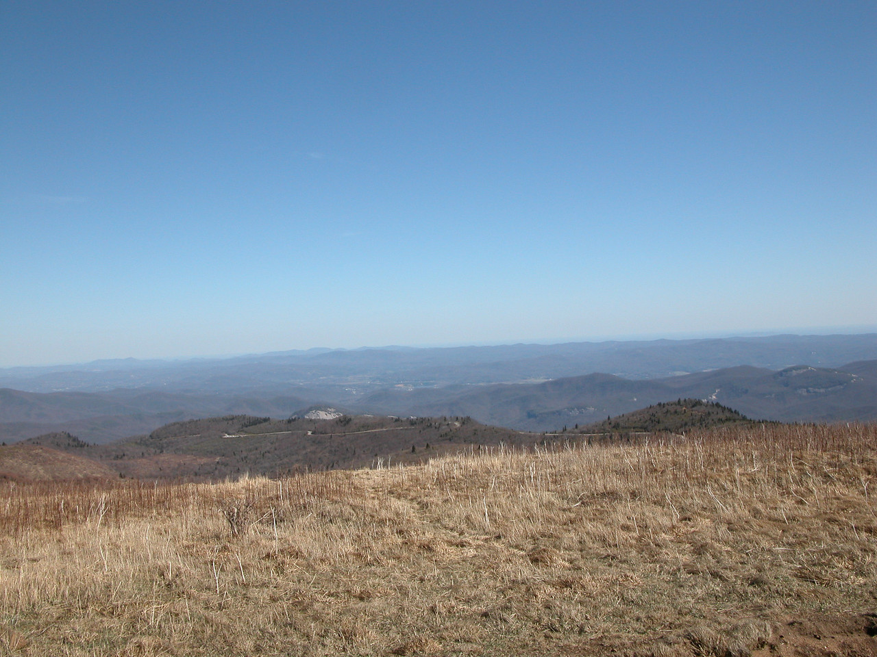 Looking Glass Rock and the Blue Ridge Parkway from the Art Loeb Trail near the summit of Black Balsam Knob.