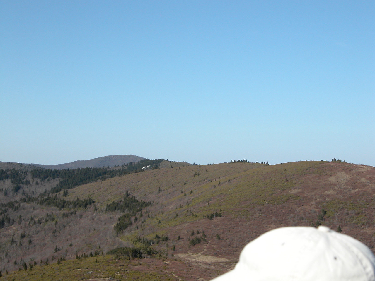 another part of failed attempt at producing a pano from the summit of Tennent<br /> <br /> Ivestor Gap is the sandy area to the left of John's cap, Grassy Cove Top is above it. Shining Rock and Cold Mtn. in the background