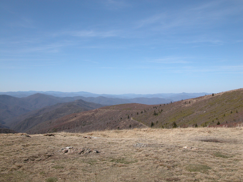 Looking NW from the Art Loeb Trail near Black Balsam Knob. In the middle of the picture, you can see the Ivestor Gap Trail going around Tennent Mtn.