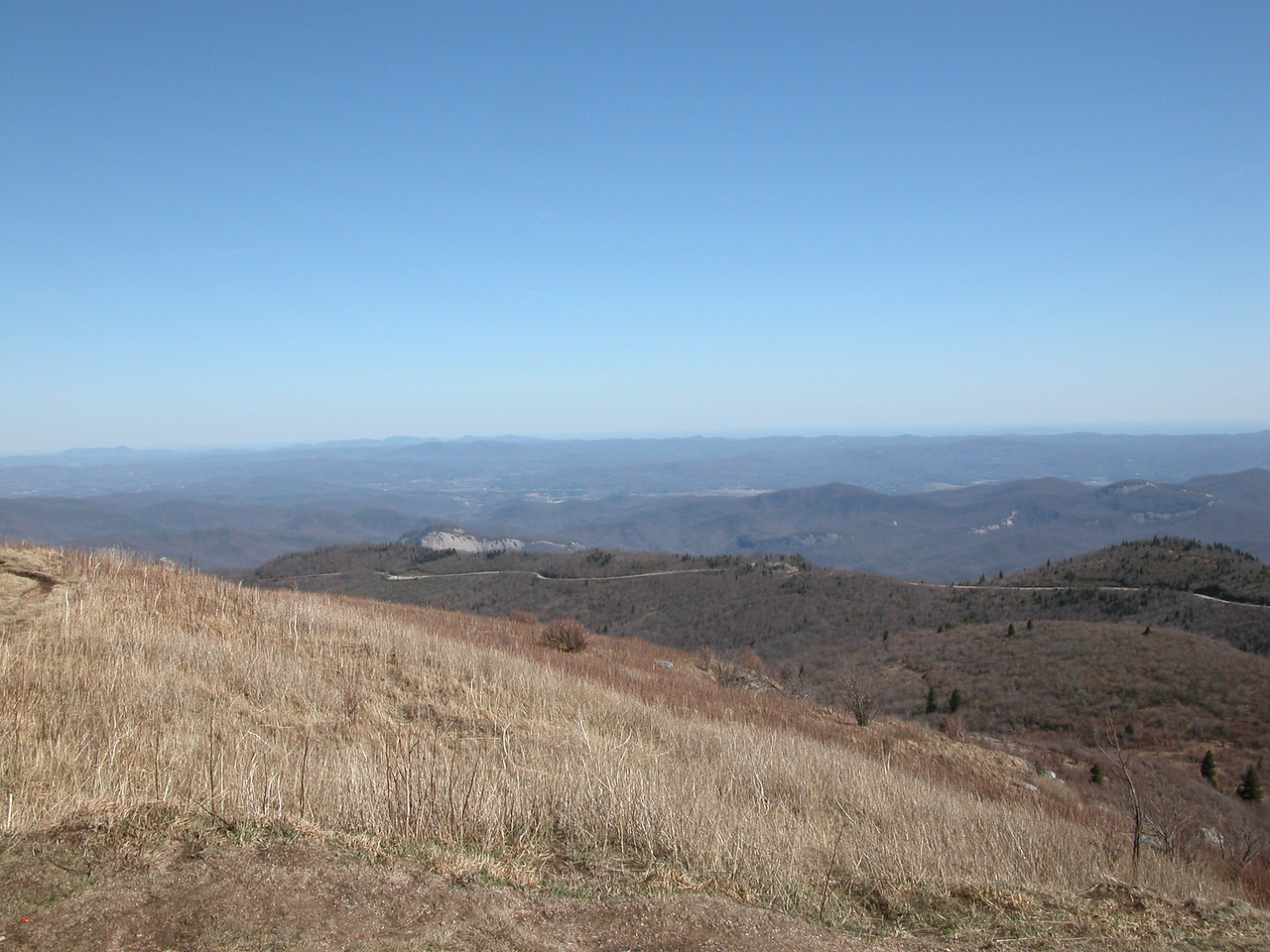 Looking Glass Rock and the Blue Ridge Parkway from the summit of Black Balsam Knob.