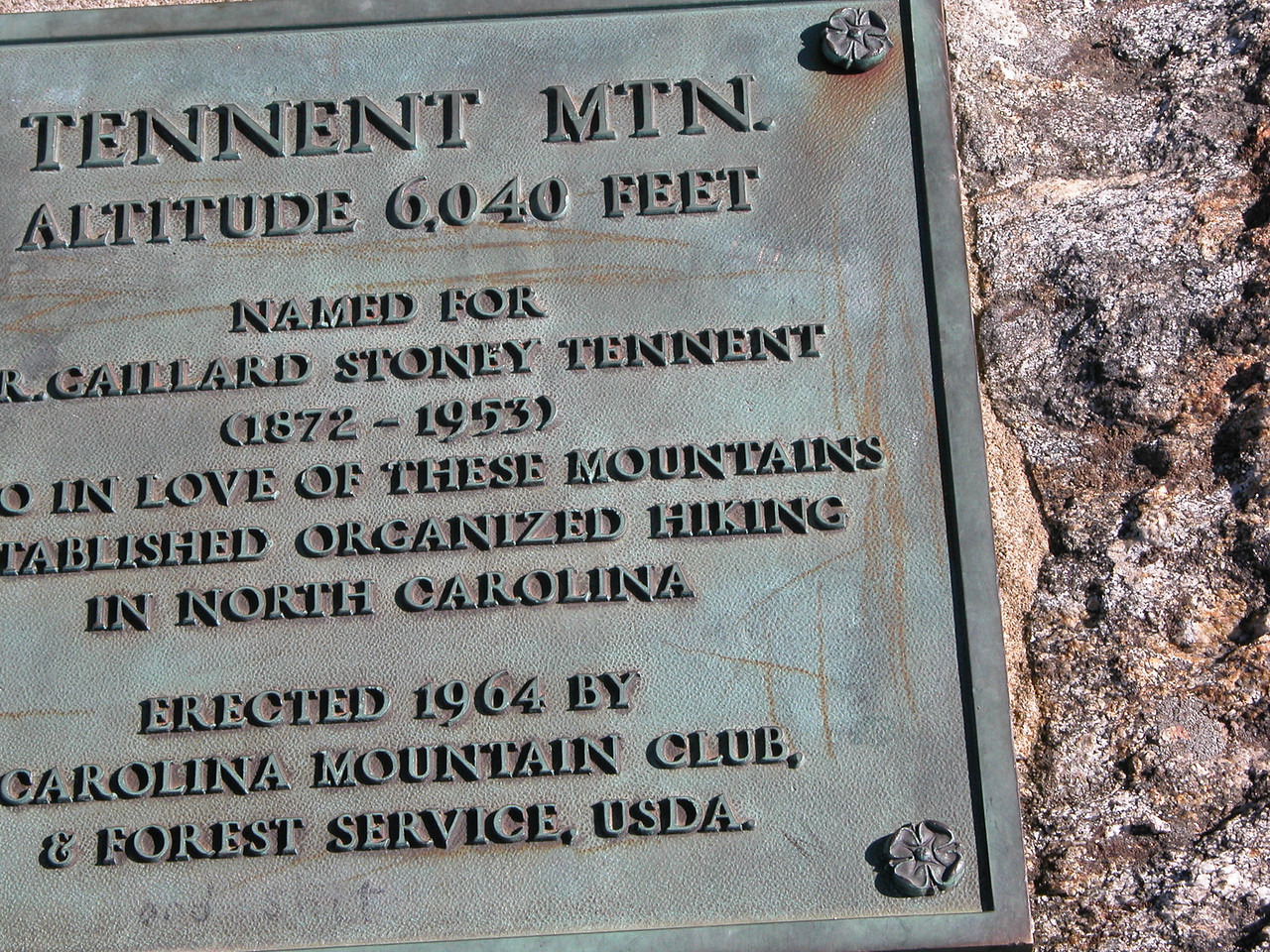 Another poor shot of the Tennent Mtn. summit plaque. Second time is NOT the charm......