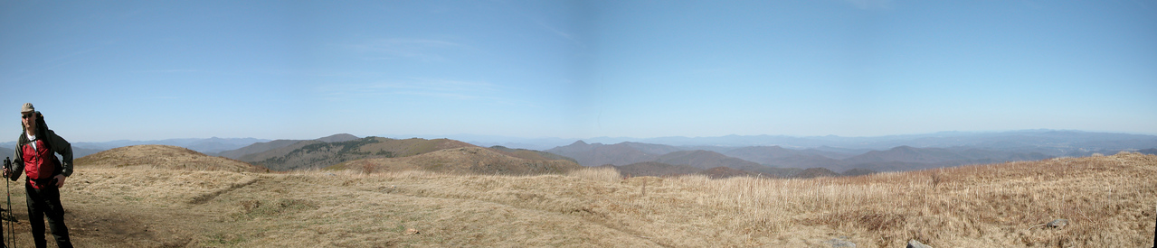 Panorama from the summit of Black Balsam Knob looking north past Tennent Mtn., Grassy Cove Knob, Shining Rock (the one with trees on the left) to Cold Mountain (the peak behind Shining Rock).  Steve anchors the left side of the panorama.