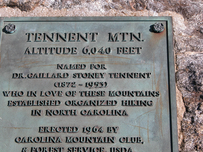 Tennent Mtn. summit plaque. Nice job of not capturing the whole thing....