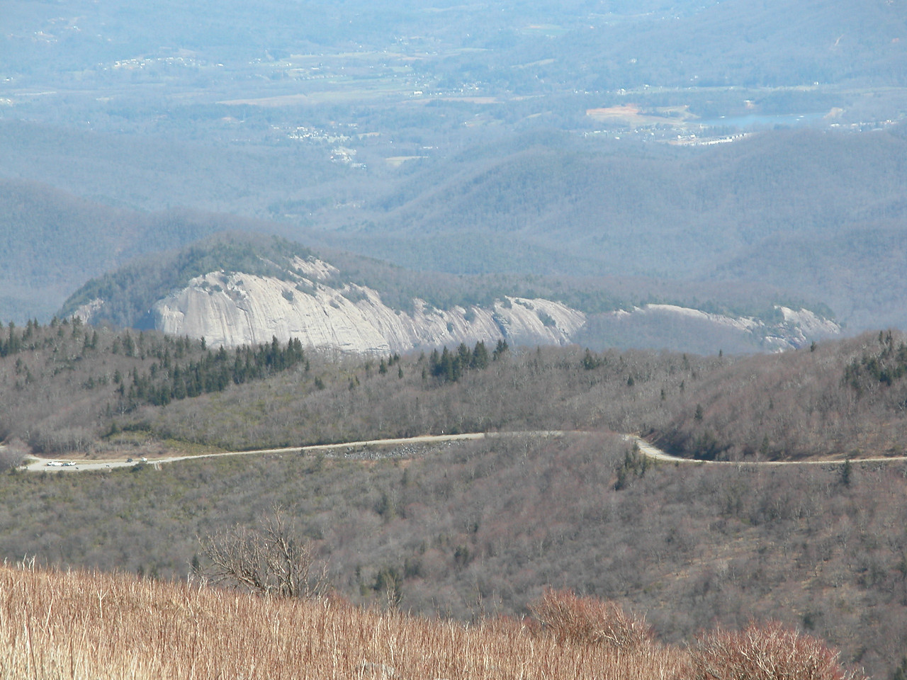 A tighter shot of Looking Glass Rock and the Blue Ridge Parkway from the summit of Black Balsam Knob.